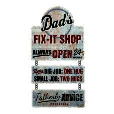 Dad's Fix-It Shop Wall Plaque