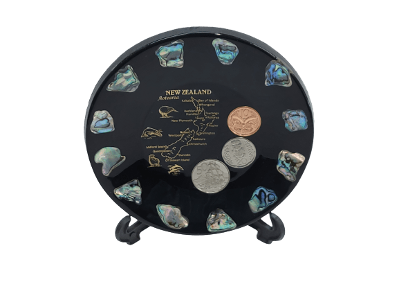 Map of NZ Paua Souvenir Plate with Coins (Small)