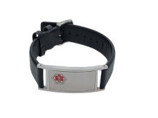 Medic ID – Bracelet with Leather Strap (Stainless Steel)