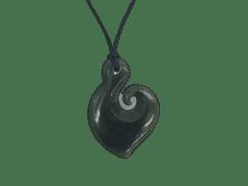 NZ Greenstone / Pounamu Hei Matau Hook with Curl Necklace
