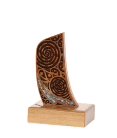 Wooden Maori Design Waka Stern on Base (Small)