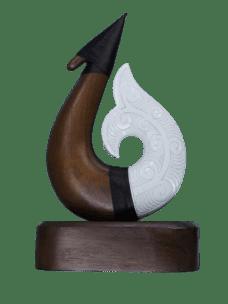 Carved NZ Pine & Resin Hook on Base