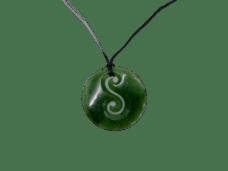 NZ Greenstone / Pounamu Double Koru Round Necklace #02